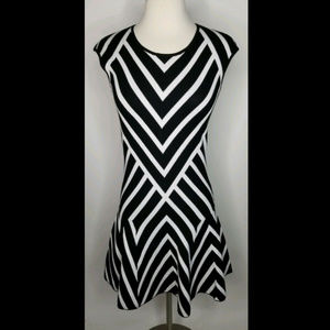 Banana Republic Black and White Stripe Knit Dress